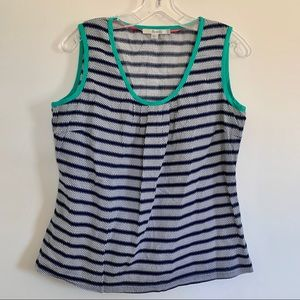 Boden Sleeveless Blouse Blue White 10